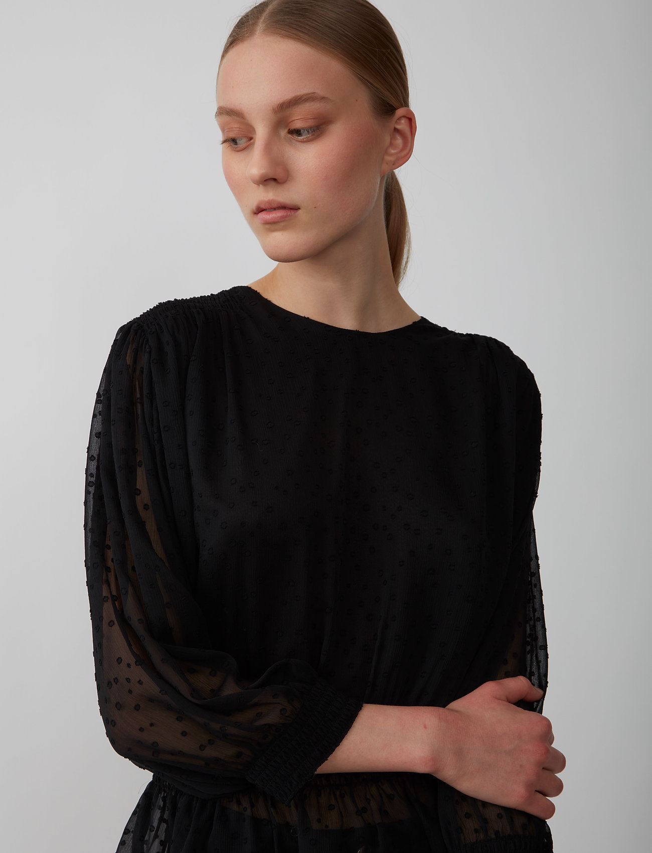 Just Female - Lula blouse - long sleeved blouses - black - 0