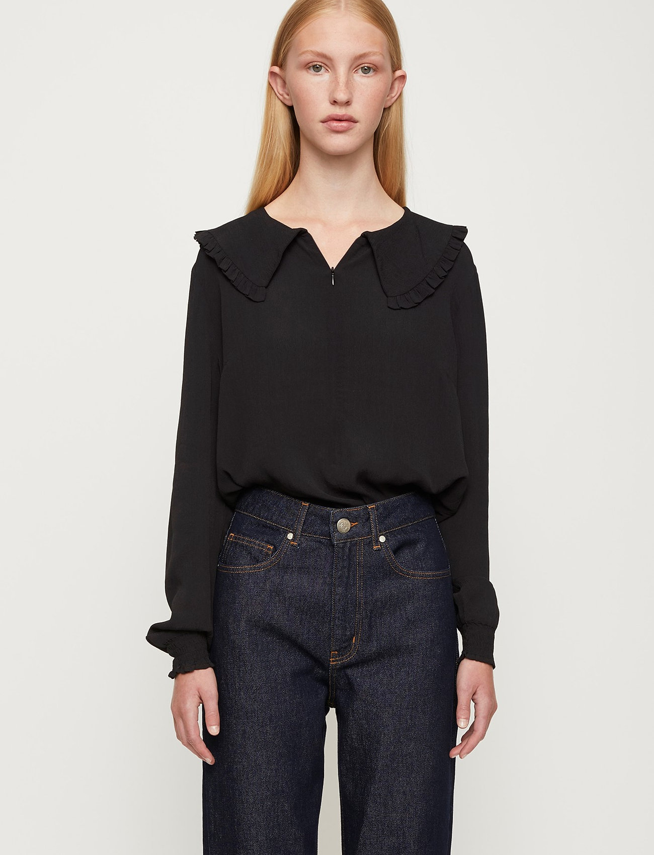 Just Female - Lima blouse - long sleeved blouses - black - 0