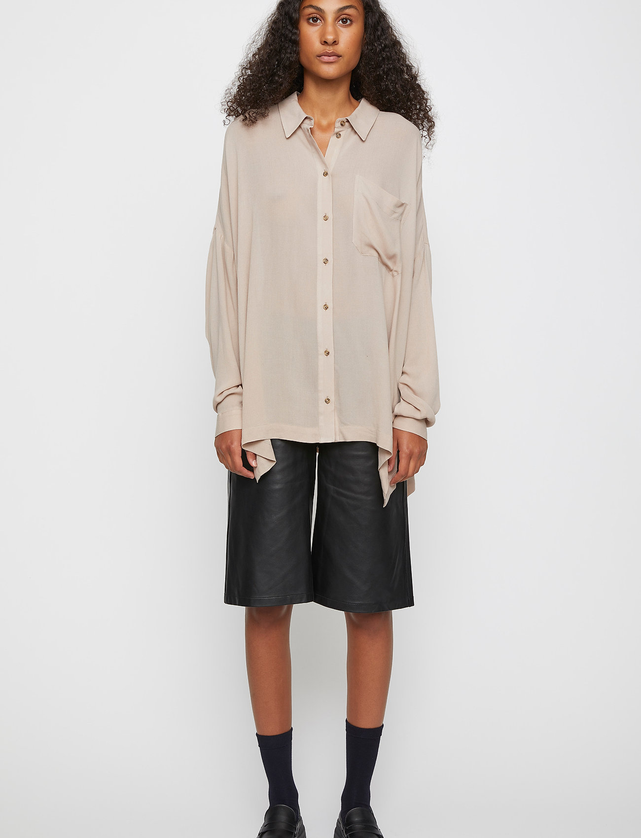 Just Female - Brooklyn shirt - long-sleeved shirts - cobblestone - 0