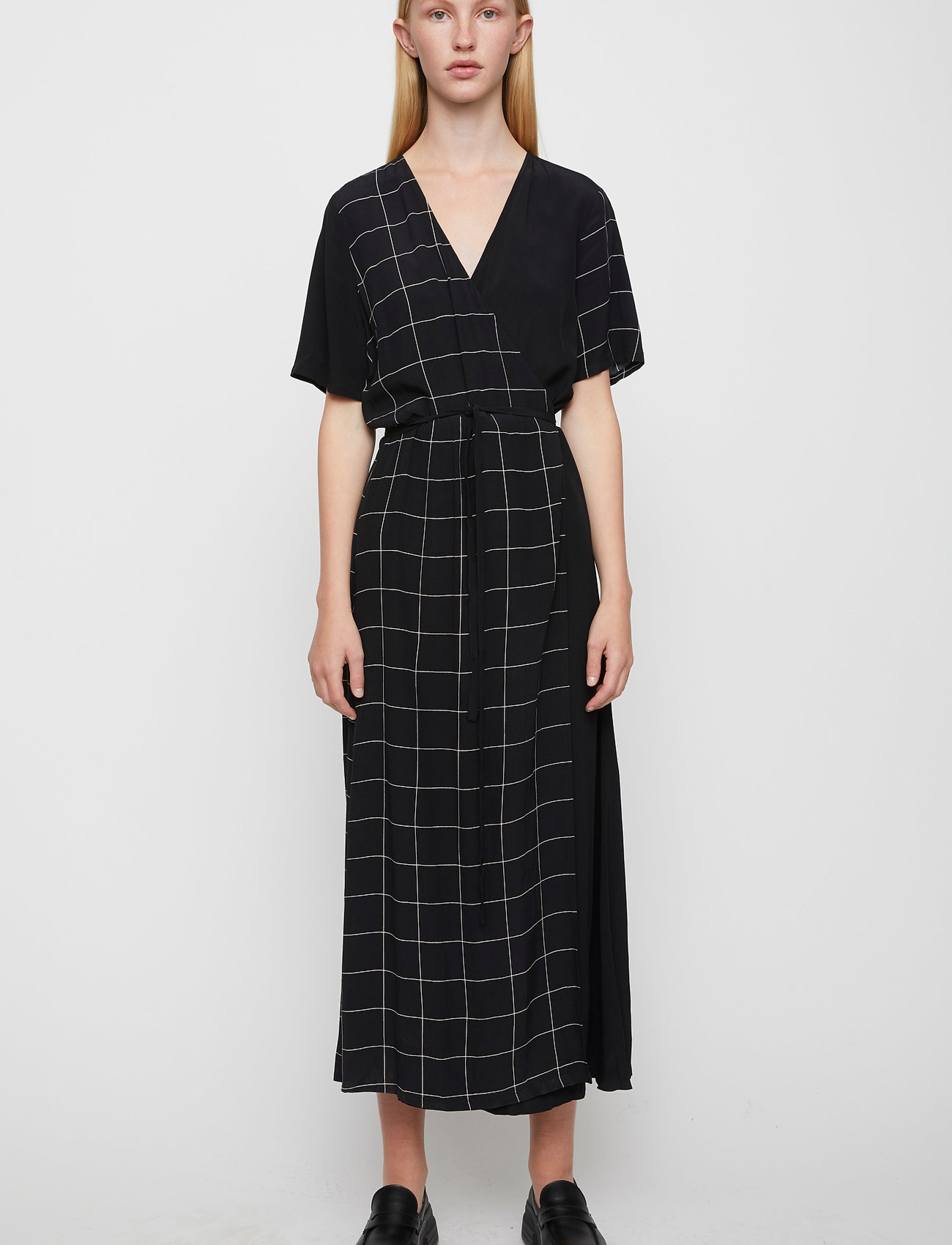 Just Female - Halle maxi wrap dress - everyday dresses - half check aop - 0
