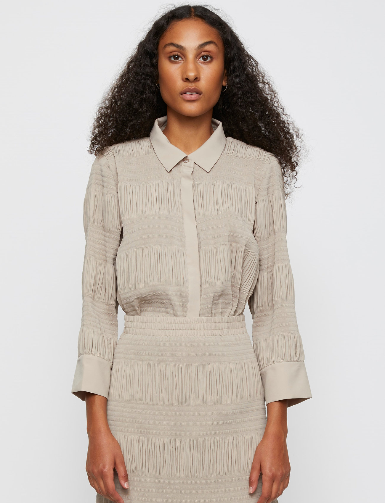 Just Female - Etienne shirt - long-sleeved shirts - cobblestone - 0