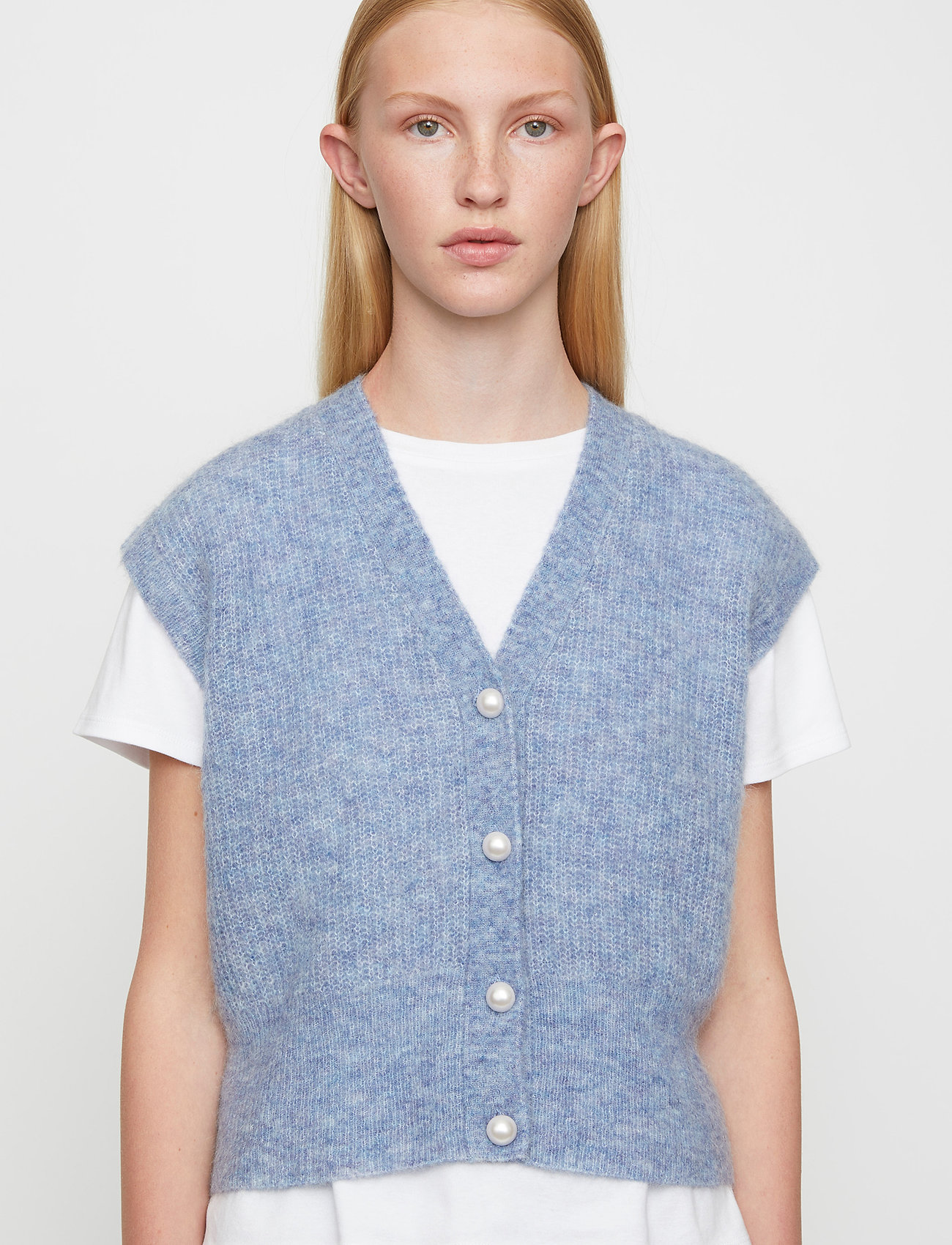Just Female - Girona knit vest - knitted vests - blue - 0