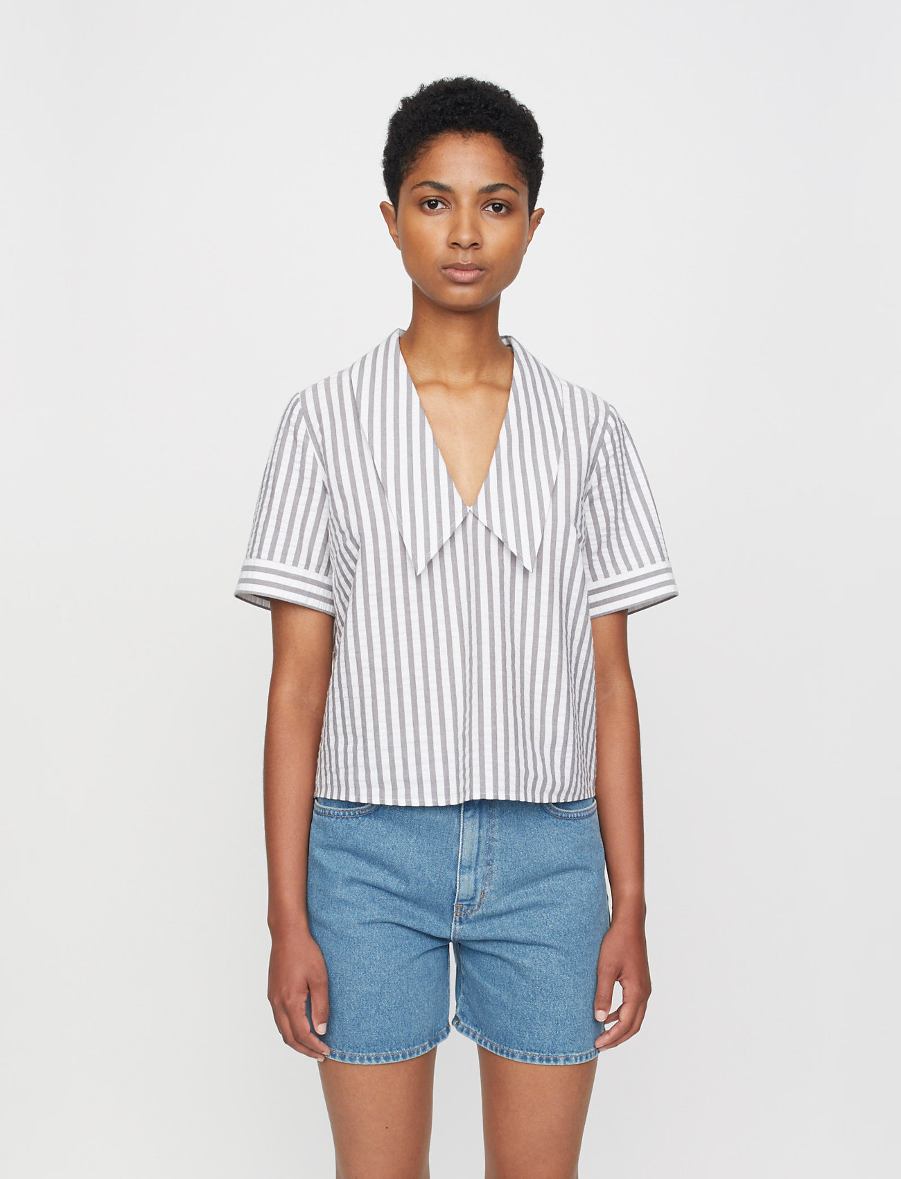 Just Female - Rialto blouse - short-sleeved blouses - pavement stripe - 0
