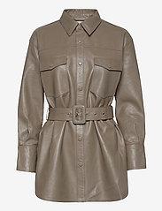 Just Female - Paso belted shirt - långärmade skjortor - grey - 0