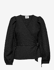 Just Female - Toda wrap blouse - long sleeved blouses - black - 1