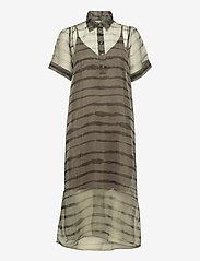 Just Female - Moca polo dress - midi dresses - uneaven lines aop - 1