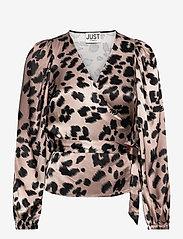 Just Female - Laguna blouse - long sleeved blouses - leopard - 1
