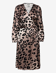 Just Female - Laguna wrap dress - midi dresses - leopard - 0