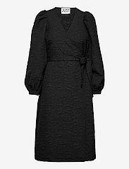 Just Female - Toda wrap dress - everyday dresses - black - 1