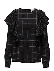 Shari ruffle blouse - BLACK WHITE CHECK