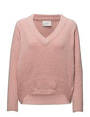 Velvet v-neck knit - Silver pink