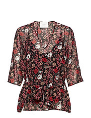Antonin blouse - CORN FLOWER RED AOP