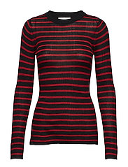 Evan blouse - BLACK RED STRIPE