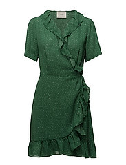 Renata flounce dress - DOTTLE GREEN AOP