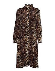 Elinor dress - BROWN LEO AOP