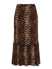Elinor maxi skirt - BROWN LEO AOP