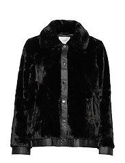 Sally fake fur jacket - BLACK