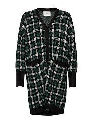 Harper knit cardigan - HARPER GREEN CHECK AOP