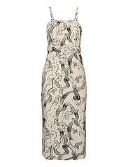 Paper strap dress - PAINT STROKES AOP
