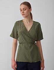 Just Female - Alvina wrap blouse - short-sleeved blouses - clover - 0
