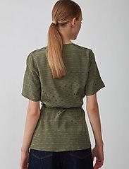 Just Female - Alvina wrap blouse - short-sleeved blouses - clover - 3