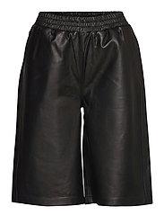 Paso leather bermuda - BLACK