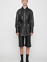 Just Female - Paso leather bermuda - leather shorts - black - 3