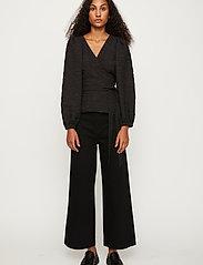Just Female - Toda wrap blouse - long sleeved blouses - black - 0