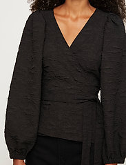 Just Female - Toda wrap blouse - long sleeved blouses - black - 4