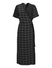 Halle maxi wrap dress - HALF CHECK AOP