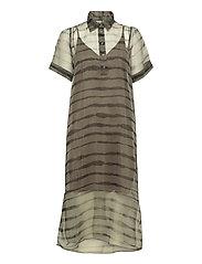 Moca polo dress - UNEAVEN LINES AOP