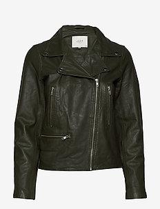 Coach leather jacket - kurtki skórzane - forest night