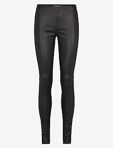 Nex leather leggings - læderbukser - black