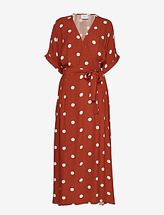Caia dress - BARN RED POLKA DOT AOP