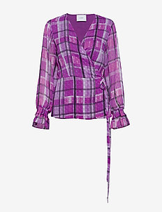 Eila wrap blouse - IRIS ORCHID CHECK