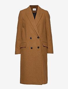 Ibi coat - wełniane płaszcze - camel