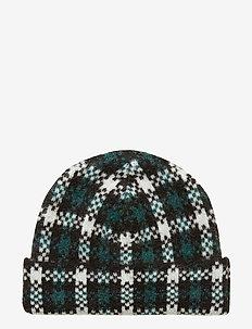 Harper knit hat - HARPER GREEN CHECK AOP