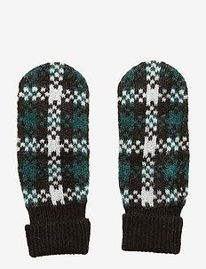 Harper knit mittens - rękawiczki - harper green check aop
