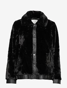 Sally fake fur jacket - faux fur - black