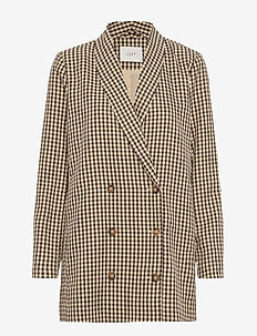 Abena blazer - WHITE AND BROWN CHECK