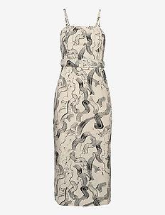 Paper strap dress - midi kjoler - paint strokes aop