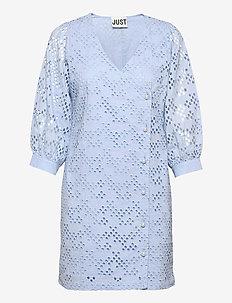Avador wrap dress - lace dresses - chambray blue