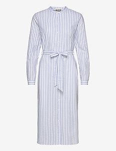 Payton long shirt - midi dresses - chambray stripe
