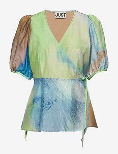 Mercer wrap blouse - bluzki bez rękawów - sap tie dye aop