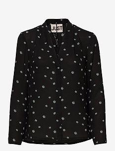 Jessie shirt - long sleeved blouses - blue daisy aop