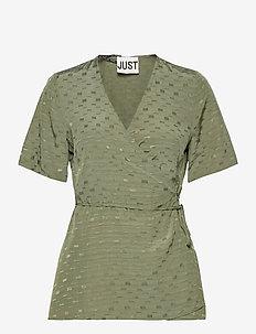 Alvina wrap blouse - short-sleeved blouses - clover