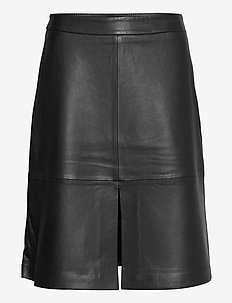 Laurene leather skirt - midi skjørt - black