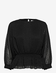 Lula blouse - long sleeved blouses - black