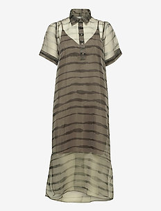 Moca polo dress - midi dresses - uneaven lines aop
