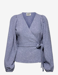Galaxy wrap blouse - long sleeved blouses - stonewash